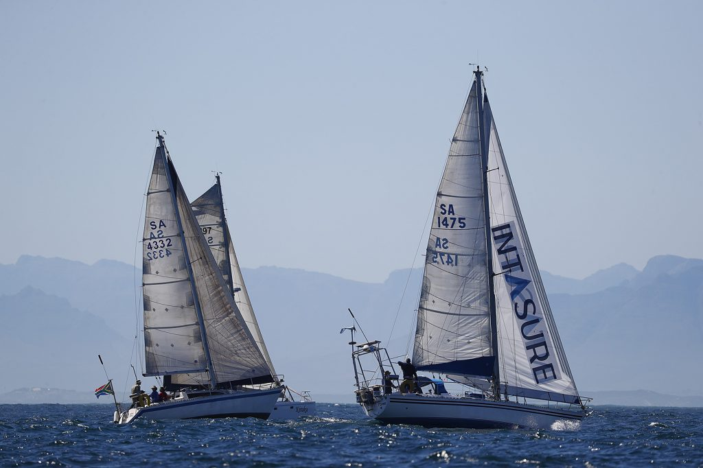 Yachts race during the False Bay Yacht Club Spring Regatta series off Simonstown in Cape Town, South Africa 17 September 2017. The False Bay Yacht Club Spring Regatta sees South Africa's premier racing yachts from various clubs in the Cape competing over three days in the annual regatta at the change of seasons with good conditions for racing in False Bay.